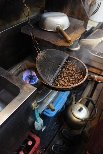 神田エース 手作りの焙煎機