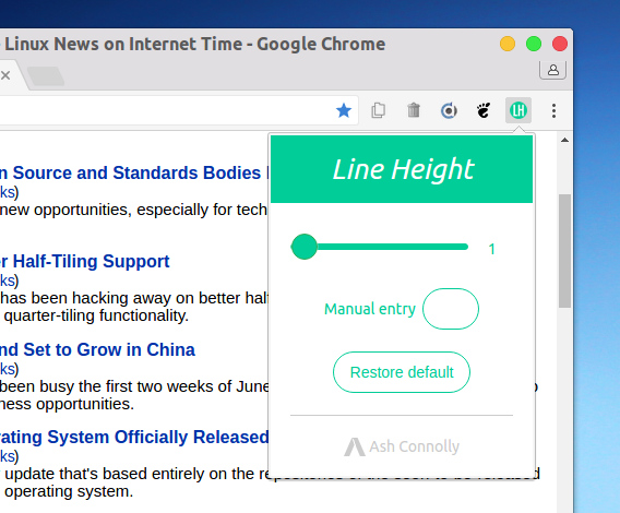 Line Height Adjuster Chrome拡張機能 Webページ 行間