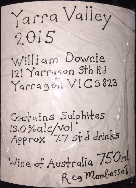 Yarra Valley Pinot Noir William Downie 2015 part2