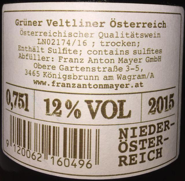 Franz Anton Mayer Gruner Veltliner 2015part2