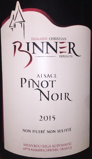 Pinot Noir Alsace Domaine Christian Binner 2015