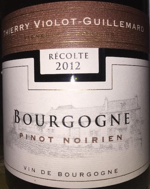 Bourgogne Pinot Noirien Thierry Violot Guillemard 2012