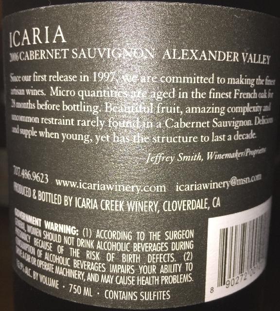 Icaria Cabernet Sauvignon Alexander Valley 2006 part2