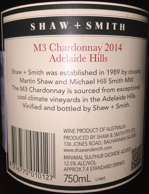 M3 Chardonnay Shaw Smith Adelaide Hills 2014 part2