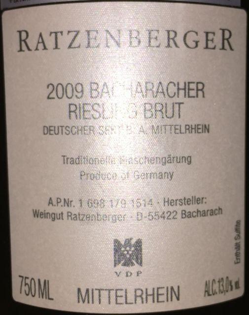 Razenberger Bacharacher Riesling Brut Mittelrhein 2009