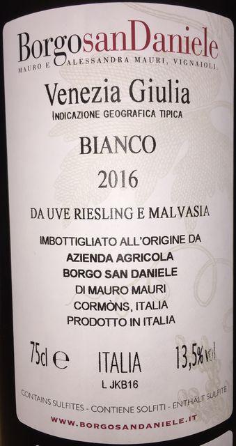 Venezia Giulia Bianco Da Uve Riesling E Malvasia BorgosanDaniele 2016 part2