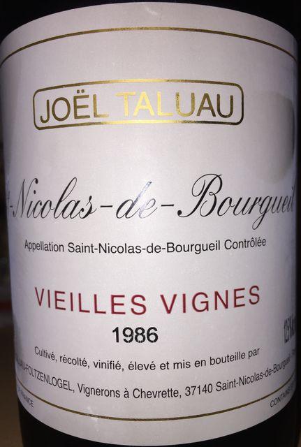 Saint Nicolas de Bourgueil Vieilles Vignes Joel Taluau 1986
