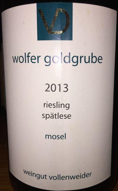 Wolfer Goldgrube Riesling Spatelese Vollenweider 2013 part1