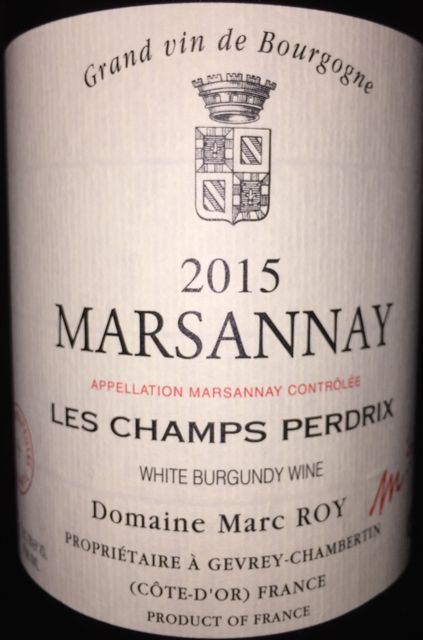 Marsannay Blanc Les Champs Perdrix Marc Roy 2015