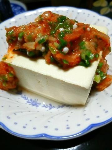 オクラ&キムチいり豆腐