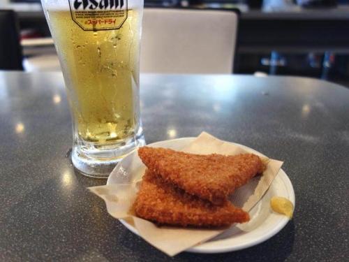 生ビール&ハムカツ