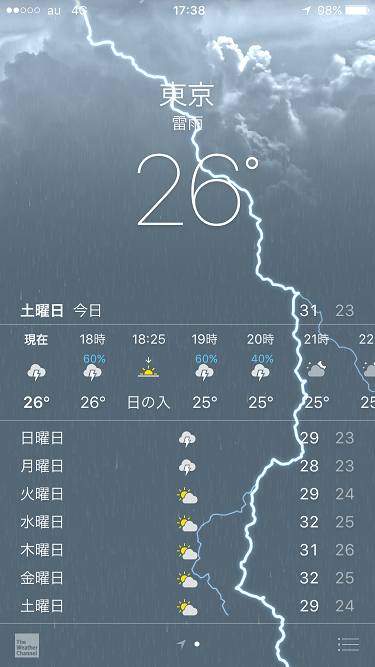 iPhone天気アプリ@2017年8月20雷雨日 by占いとか魔術とか所蔵画像
