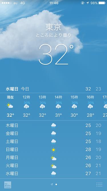 iPhone天気アプリ@2017年8月30日 by占いとか魔術とか所蔵画像