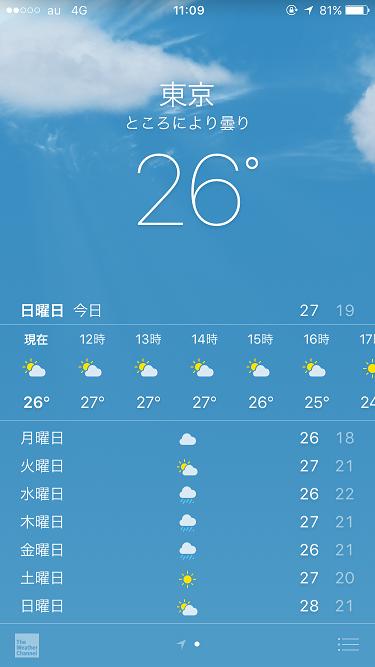 iPhone天気アプリ@2017年9月3日 by占いとか魔術とか所蔵画像