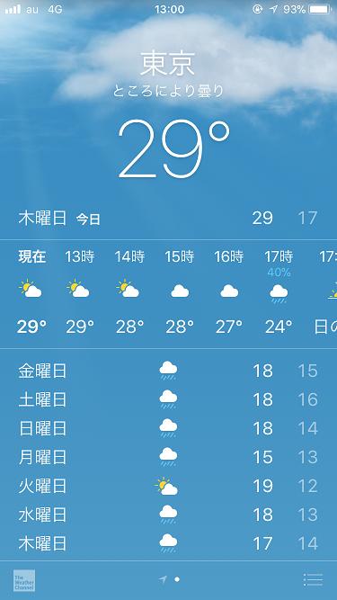 iPhone天気アプリ@2017年10月12日 by占いとか魔術とか所蔵画像