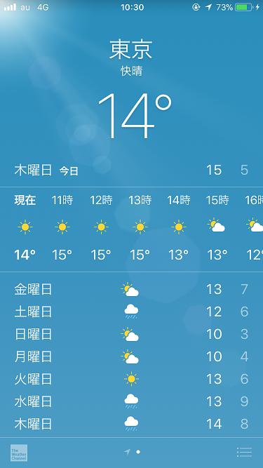 iPhone天気アプリ@2017年11月16日 by占いとか魔術とか所蔵画像
