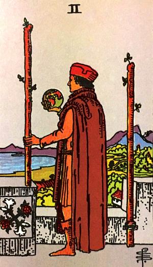 タロットカード『ワンド2』 by占いとか魔術とか所蔵画像