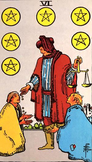 タロットカード『ペンタクル6』 by占いとか魔術とか所蔵画像