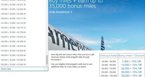 アメリカン航空 マイルの購入とギフトで35,000ボーナス_ 10%OFF