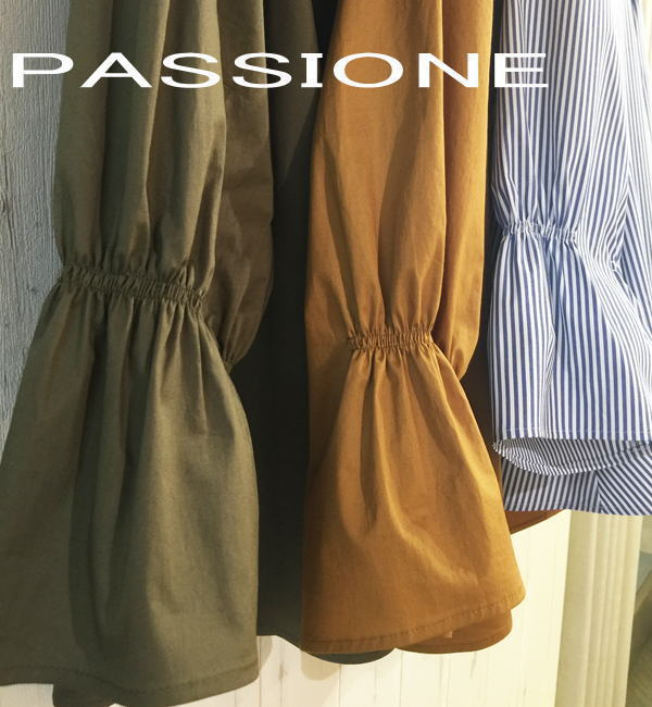 パシオーネのスモック風7分袖ブラウス