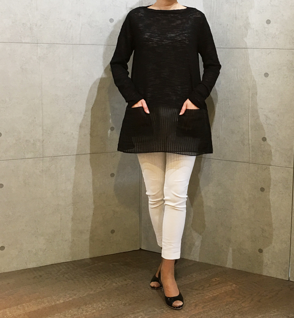 アイボリーの裾オーガンジーのプルオーバー