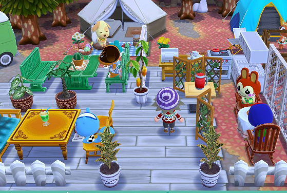 【ポケ森】カフェ風にしてみた!家具が少なくて右側が託児所みたくなったけどwwww【どう森】