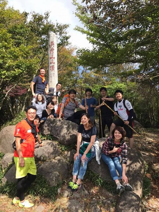 秋合宿2017、英彦山山頂にて