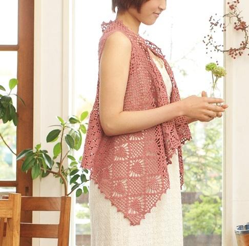 1806ピエロさわやかコットン模様編みのジレ2