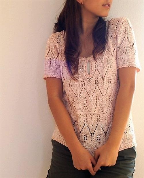 1814ピエロ絹100%合太透かし編みのサマーセーター