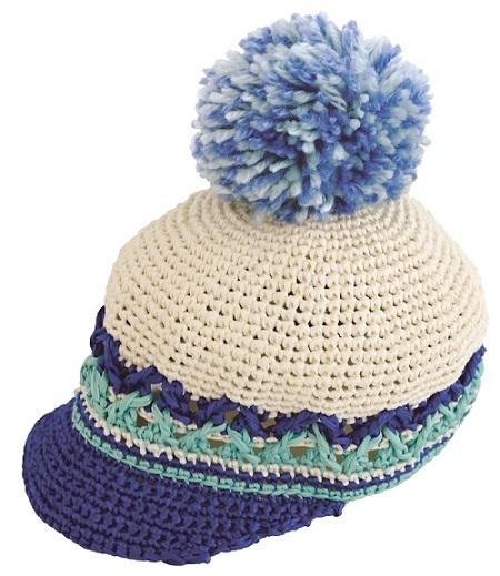 1829zakkaラフィアポンポンつき帽子