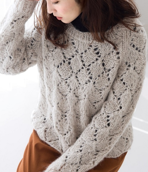 1874zakkaラーラへ糸替えふわりダイスセーター