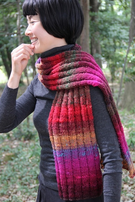 1880くれよん模様編み幅広マフラー2