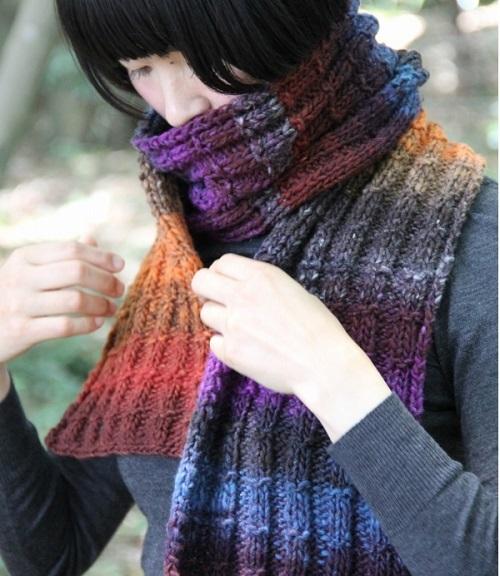 1880くれよん模様編み幅広マフラー