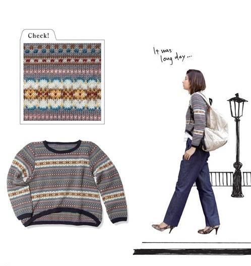 1889ピエロ純毛中細編みこみラウンドカットセーター2