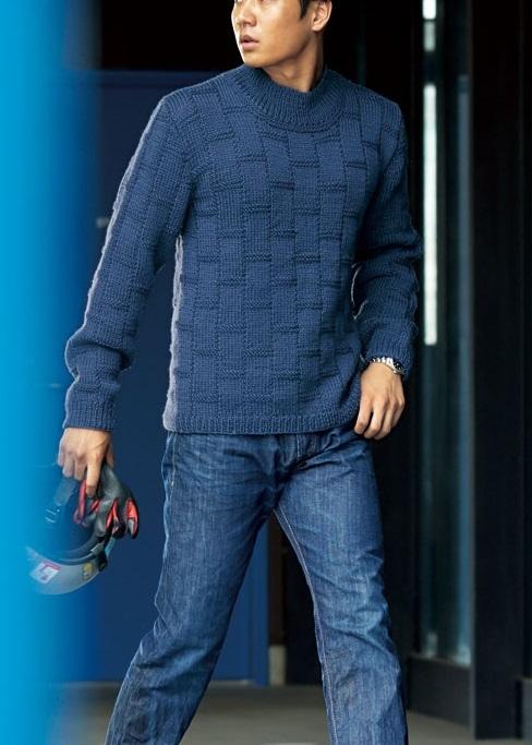 1899純毛極太2ブロック模様のメンズセーター