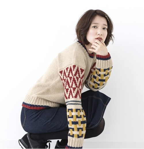1917ピエロニュイソフトメリノ幾何学模様のセーター