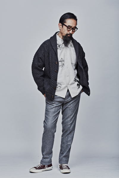 SOFTMACHINE TERENCE CARDIGAN SKETCH NEL SHIRTS NIKOLAI PANTS PARKES GLASS