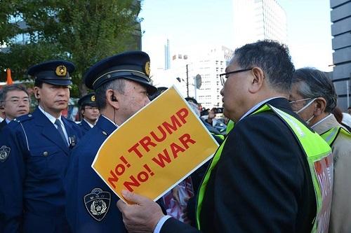 今日(11月3日)、戦争準備のためのトランプ大統領の訪韓・訪日に反対し、都内の米国大使館前で抗議をしました。