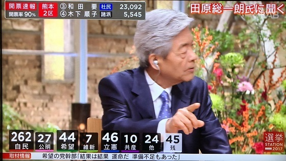 田原総一朗「自民党勝ちすぎ!アベ政治はモリカケ・共謀罪でろくなもんじゃない!この選挙は野党が割れて小池さまさま!北朝鮮さまさま!国民はどうもアベに対して甘すぎる!」