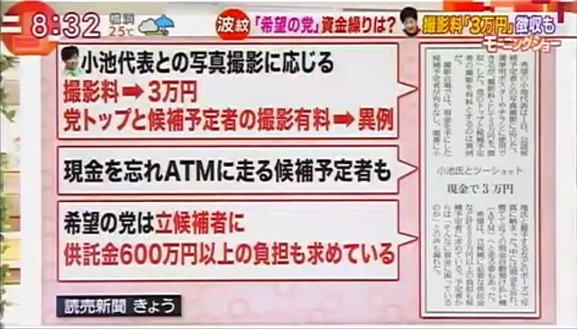 小池氏とツーショット3万円…公認予定者に請求