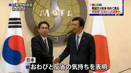 慰安婦問題を巡っては、日本政府が一昨年の合意でお詫びと反省の気持ちを表明している。