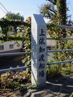 上依知渡船場の地名標柱