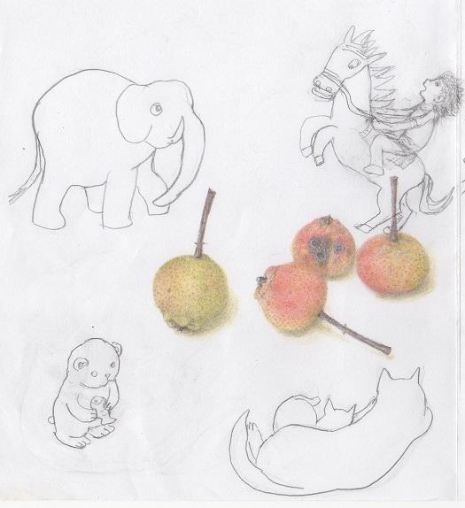 色鉛筆画とカット