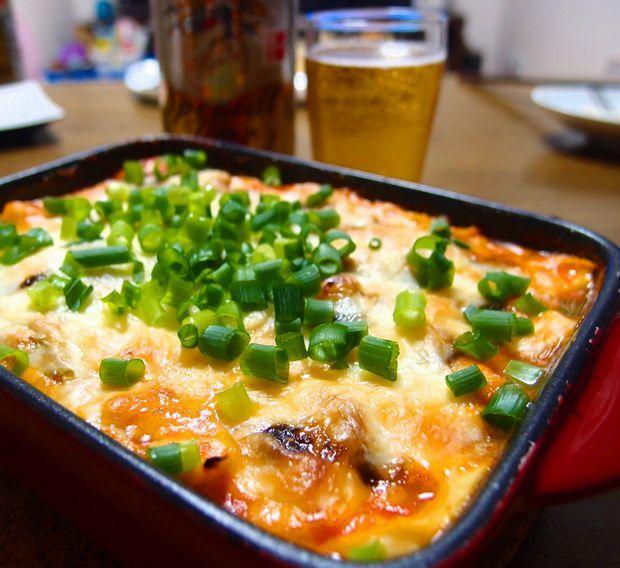 豆腐キムチピザ①