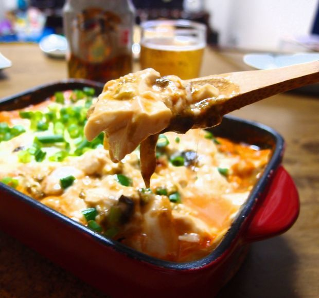 豆腐キムチピザ②