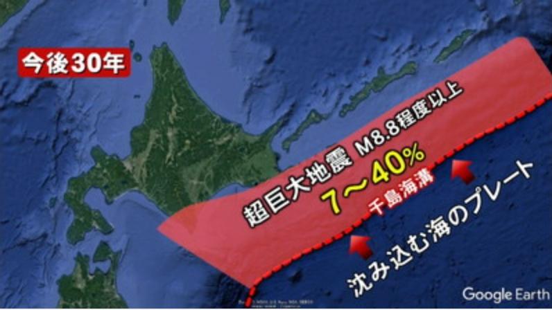 千島海溝沿いで超巨大地震が起きる確率