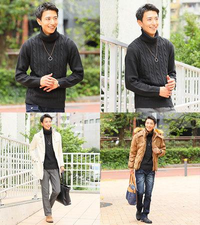 【最先端の着こなしへ】インナーコーデは流行タートルネック 黒 メンズファッション
