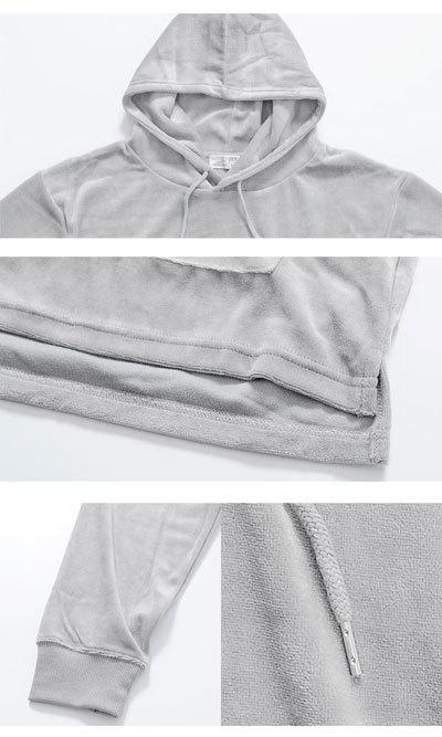 ベロア プルオーバーパーカー メンズ服 流行