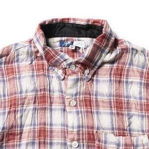 褪せ色 ビンテージ調 メンズチェックシャツ