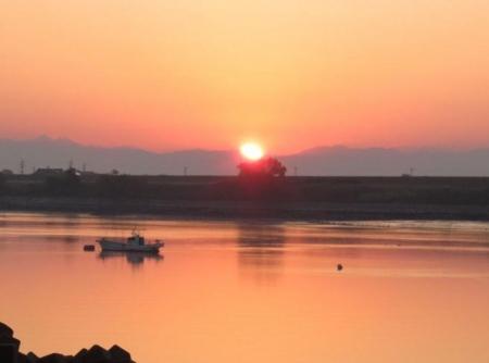 筑後川の朝日とお月さん 027